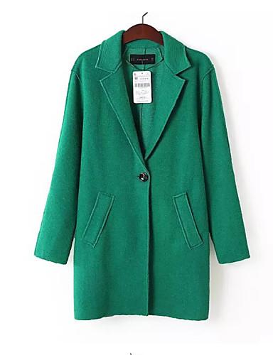 Manteau Aux femmes,Couleur Pleine Manches Longues Rouge / Noir / Marron / Vert / Orange Laine / Polyester / Autres MoyenToutes les