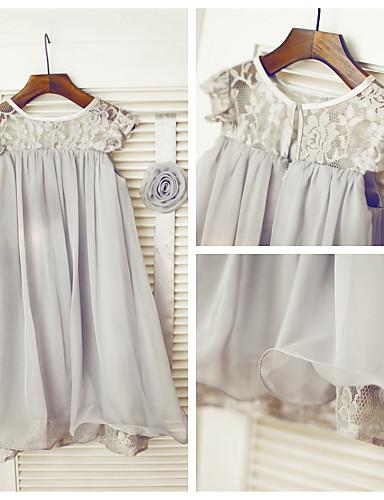 זול למסיבת החתונה חיסול-גזרת A באורך הקרסול שמלה לנערת הפרחים - שיפון / תחרה ללא שרוולים עם תכשיטים עם תחרה / קפלים על ידי LAN TING Express