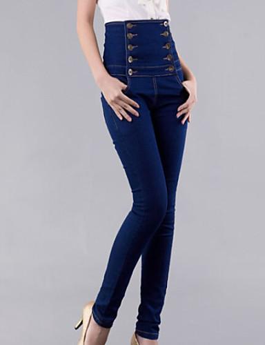 Women's High Rise Micro-elastic Skinny Jeans Pants Solid Fall