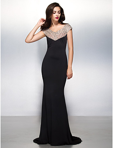 Mermaid / Trumpet V Neck Sweep / Brush Train Jersey Formal Evening Black Tie Gala Dress with Beading by TS Couture®