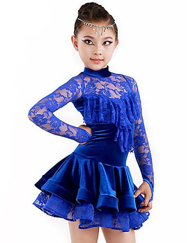 Latin Dansı Kıyafetler Çocuklar için Performans Spandeks Polyester Kumaş Kaplanmış 2 Parça Top Etek