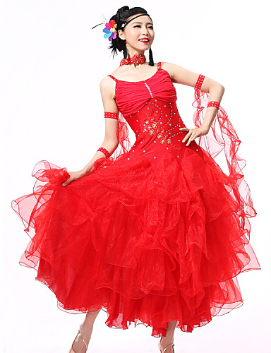 Für den Ballsaal Austattungen Damen Leistung Elasthan Krepp Pailetten Kristalle / Strass Gerafft Ärmellos Kleid Armbänder Neckwear