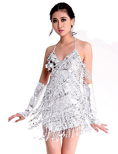 Latin Dansı Elbiseler Kadın's Performans Polyester / Splandeks Payet Kolsuz Elbise