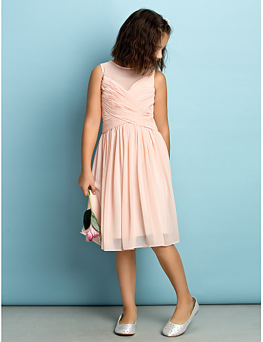 A-Line Jewel Neck Knee Length Chiffon Junior Bridesmaid Dress with Criss Cross by LAN TING BRIDE® / Natural / Mini Me