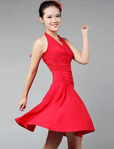 Latein-Tanz Kleider & Röcke Damen Training Leistung Milchfieber Drapiert Ärmellos Kleid
