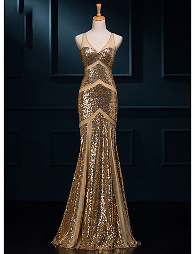 cheap Evening Dresses-Mermaid / Trumpet V Neck Floor Length Sequined Sparkle & Shine Formal Evening Dress with Sequin by LAN TING Express