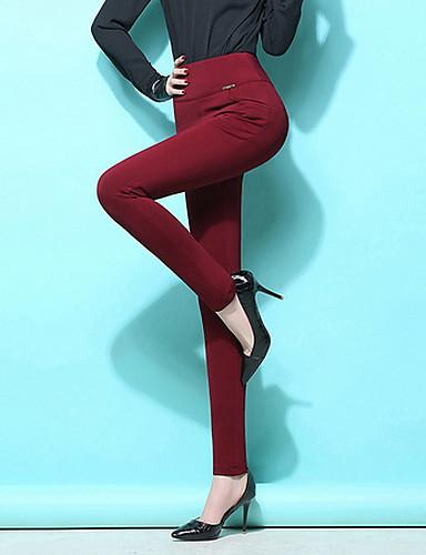 billige Damebukser-Dame Basale Plusstørrelser Daglig Tynde Bukser / Leggins Bukser - Ensfarvet Sort Navyblå Vin XXXXL XXXXXL XXXXXXL / Sexy