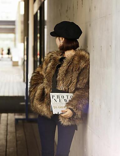 Damen Ausgehen Retro Winter Standard Pelzmantel, Solide Rundhalsausschnitt Langarm Kunst-Pelz Braun L / XL / XXL