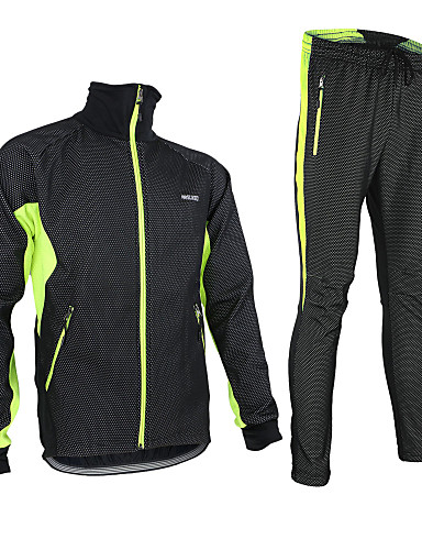 cheap Cycling Clothing-Arsuxeo Men's Long Sleeve Cycling Jacket with Pants - Black / Red Black / Green Black / Blue Solid Color Bike Jacket Clothing Suit Thermal / Warm Windproof Fleece Lining Breathable Anatomic Design
