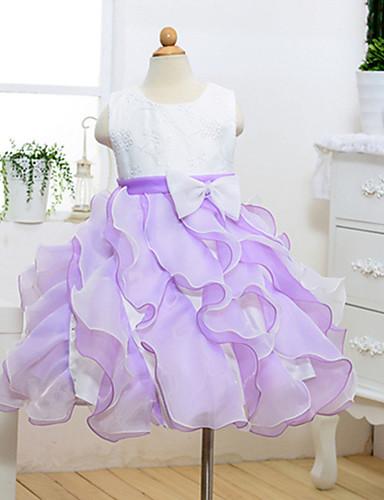 a-line polvipituus kukka tyttö mekko - puuvilla polyesteri tulle hihaton jalokivi kaulana nauha ydn