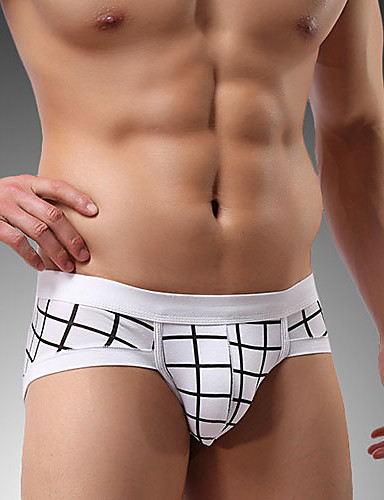 Men's Briefs Underwear Plaid Low Waist