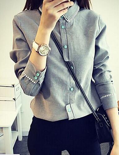 Bayanlar Orta Naylon Uzun Kollu Gömlek Yaka Sonbahar Solid Sade Resmi Beyaz / Gri-Bayanlar Gömlek