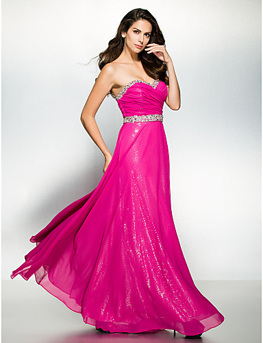 A-Line Sweetheart Ankle Length Chiffon Prom / Formal Evening Dress with Beading Criss Cross by TS Couture®