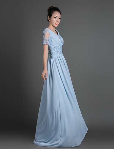 Tubinho Decote V Cauda Escova Chiffon Renda Vestido Para Mãe dos Noivos - Apliques Detalhes em Cristal Cruzado de