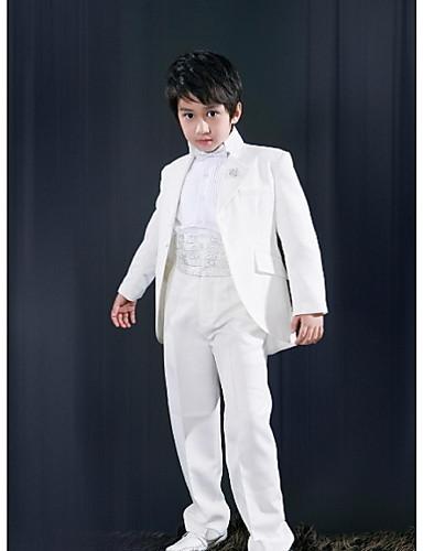 Hvit Polyester Ringbærerdress - 5 Inkluderer Jakke Cummerband Skjorter Bukser Sløyfe