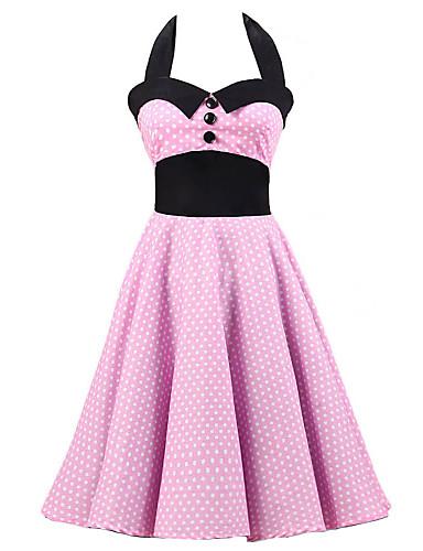 Women's Vintage Cotton A Line Dress - Polka Dot Backless Halter Neck