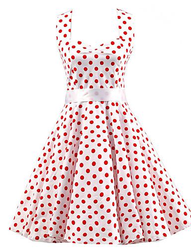 Kadın's Vintage Pamuklu A Şekilli Elbise - Yuvarlak Noktalı, Fiyonklar Boyundan Bağlamalı Diz-boyu