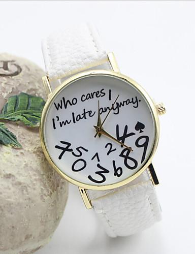Women's Fashion Watch Quartz Hot Sale Leather Band Word Watch Black White