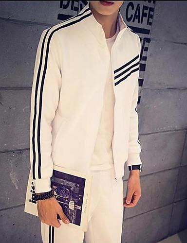 Men's Long Sleeve Hoodie & Sweatshirt , Cotton Striped / Pure