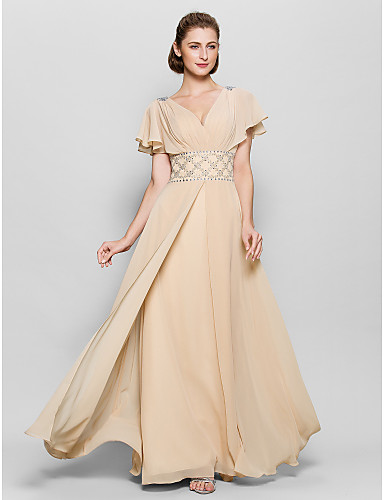 A-Line V Neck Floor Length Chiffon Mother of the Bride Dress 617 Beading Criss Cross by LAN TING BRIDE®