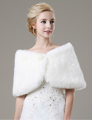 Sleeveless Faux Fur Wedding Party Evening Casual Fur Wraps Wedding  Wraps With Pearl Shawls