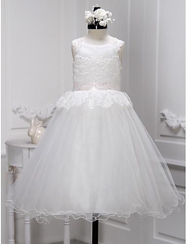 Λουλούδι φόρεμα κορίτσι λουλουδιών μήκους αγκώνα - λουλούδι δαντέλα με δαντέλα χωρίς δαντέλα από lan ting bride®