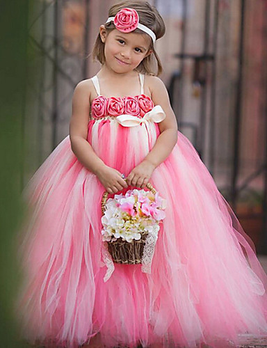 Balo Abiyesi Spagetti Askılı Bilek Boyu Polyester Tül Fiyonk Çiçek(ler) ile Çiçekçi Kız Elbisesi tarafından Thstylee