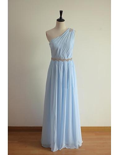 A-Line One Shoulder Floor Length Chiffon Bridesmaid Dress with Beading Sash / Ribbon by LAN TING BRIDE®