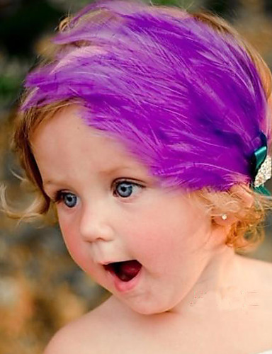 Children's Feather Fur with Bowknot Elastic Headband