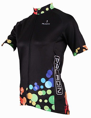 cheap Cycling Clothing-ILPALADINO Women's Short Sleeve Cycling Jersey - Black Polka Dot Plus Size Bike Jersey Top Breathable Quick Dry Ultraviolet Resistant Sports Polyester 100% Polyester Terylene Mountain Bike MTB Road