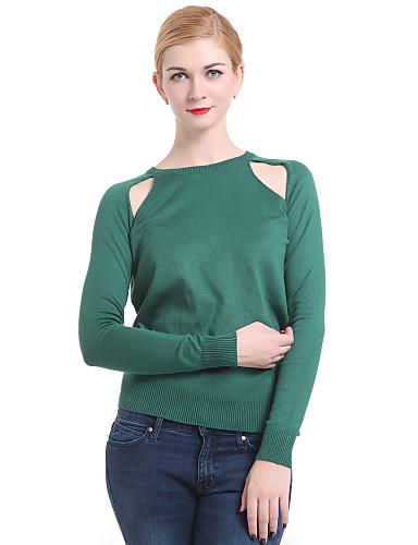 Damen Langarm Pullover - Solide, Ausgehöhlt