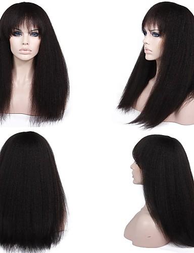 povoljno Perike s ljudskom kosom-Ljudska kosa Perika pune čipke bez ljepila Perika s prednjom čipkom bez ljepila Full Lace Perika stil Brazilska kosa Ravan kroj Perika 130% 150% Gustoća kose s dječjom kosom Prirodna linija za kosu