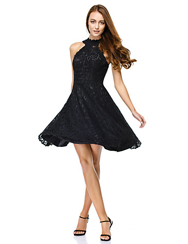 A-Line / Princess / Fit & Flare Illusion Neck Knee Length All Over Lace Little Black Dress Cocktail Party / Prom Dress with Lace by TS Couture®