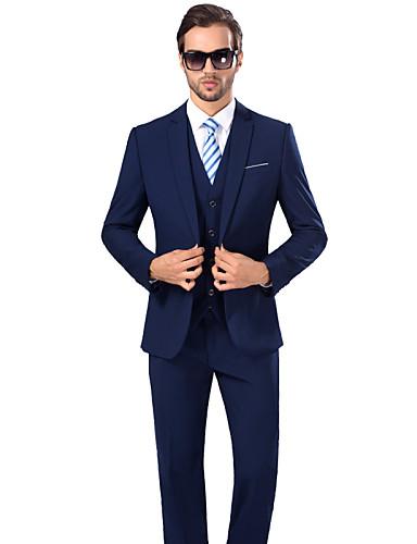 Suits Standard Fit Notch Viscose / Serge Solid 3 Pieces Royal Blue Dark Blue Buttons / Pockets