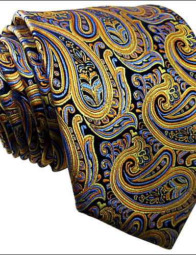 Men's Tie  Yellow  Paisley  100% Silk Business New Wedding