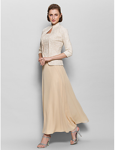 povoljno Popularne haljine za majku mladenke-A-kroj Četvrtasti izrez Do gležnja Šifon / Žičana čipka Haljina za majku mladenke s Čipka po LAN TING BRIDE®
