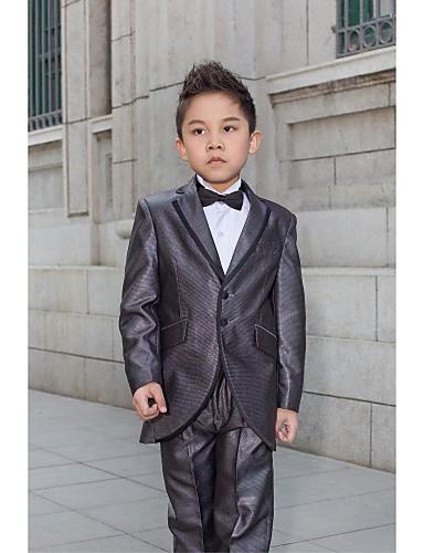 Polyester Ring Bearer Suit - 5 Pieces Includes  Jacket / Shirt / Pants / Waist cummerbund / Bow Tie
