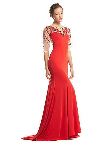 Τρομπέτα / Γοργόνα Scoop Neck Ουρά Τούλι Ζέρσεϊ Χοροεσπερίδα Επίσημο Βραδινό Φόρεμα με Χάντρες με TS Couture®