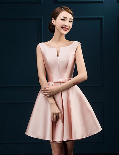 A-Line Notched Knee Length Satin Bridesmaid Dress with Bow(s) by LAN TING Express