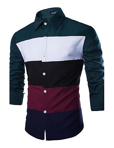 voordelige Herenoverhemden-Heren Zakelijk Patchwork Overhemd Werk Kleurenblok Spread boord Slank Zwart / Lange mouw / Lente / Herfst