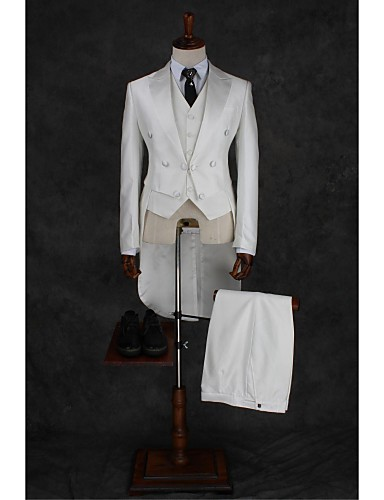 Suits Tailored Fit Notch Double Breasted Four-buttons Cotton Blend Solid 2 Pieces Ivory None Double (Two) White Double (Two) Buttons