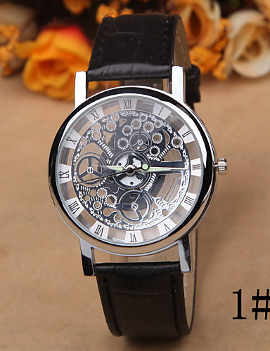 Women's Quartz Wrist Watch Hollow Engraving Leather Band Casual Elegant Fashion Black Brown