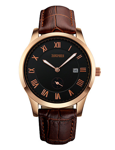 Men's Wrist watch Quartz Calendar / date / day Water Resistant / Water Proof Leather Band Luxury Black Brown