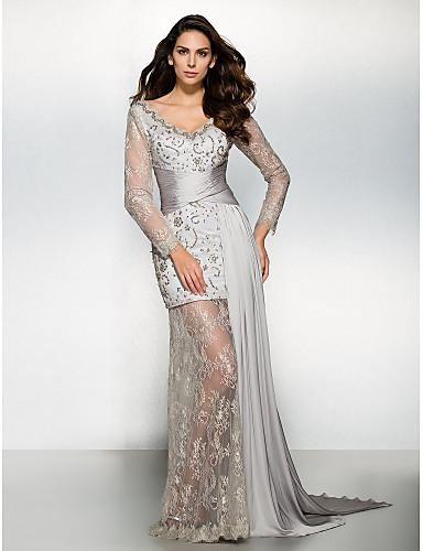 Χαμηλού Κόστους Φορέματα Διακοπών-Ίσια Γραμμή Λαιμόκοψη V Ουρά που ξεκινάει από τους ώμους Σιφόν / Δαντέλα See Through Επίσημο Βραδινό Φόρεμα με Δαντέλα με TS Couture®
