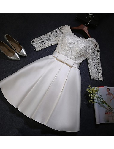 A-Line Scoop Neck Knee Length Satin Lace Bodice Bridesmaid Dress with Lace by Embroidered Bridal