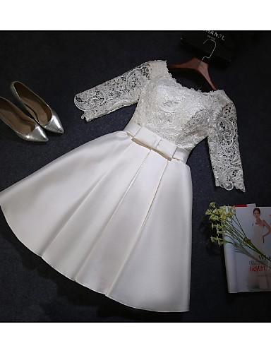 Linha A Até os Joelhos Renda Cetim Vestido de Madrinha com Renda de JUEXIU Bridal