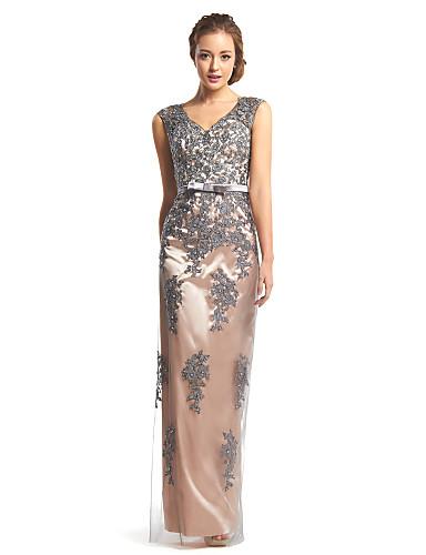 Eng anliegend V-Ausschnitt Boden-Länge Spitze / Tüll See Through Abiball / Formeller Abend Kleid mit Spitze durch TS Couture®