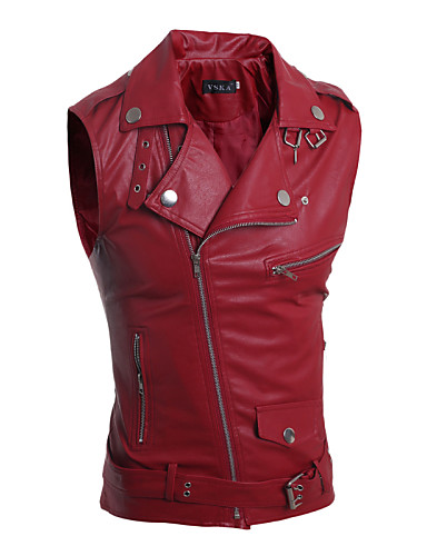 Men's Fashion Personality Multi Zipper Large Lapel Slim Fit Leather Vest