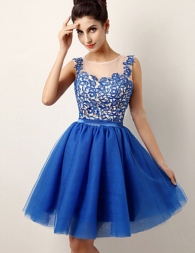 Women's  Lace Slim Round Sleeveless Graceful Party Dress