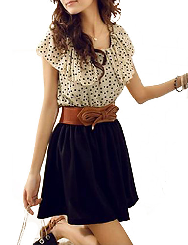 Women's Daily Cute Skater Dress,Polka Dot Round Neck Mini Sleeveless Polyester Summer High Rise Micro-elastic Thin